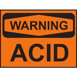 orange background warning acid sign