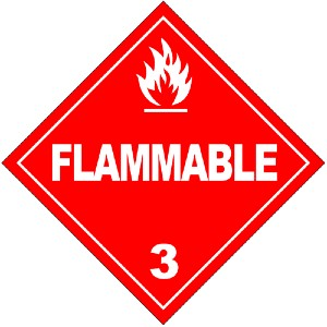 hazmat red triangle flammable label sign