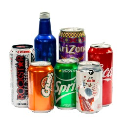 various aluminum bottles and cans