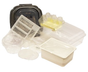 various non-rigid anc clamshell plastic containers
