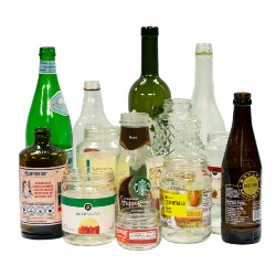 clear, green and brown glass bottles and jars