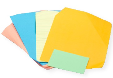 various sheets of colored office paper