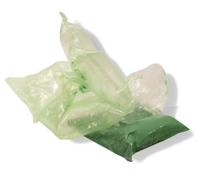 clear and green plastic packaging air pillows
