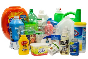various types of plastic bottles, jugs and tubs