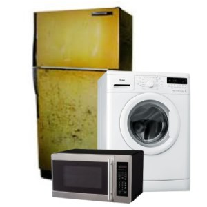 old yellow refrigerator, white front load washer and a microwave oven