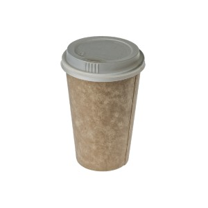 tan coffee cup with with white plastic lid