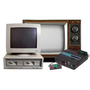 computer system with monitor, old television and a video game console