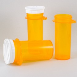 three amber-colored plastic prescription bottles