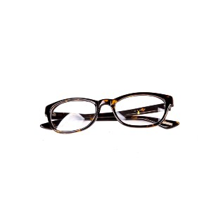 brown pair of eyeglasses