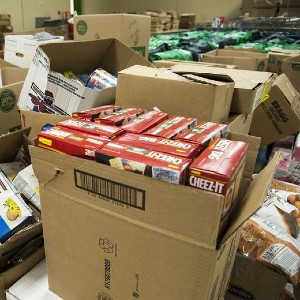 boxes of donated food