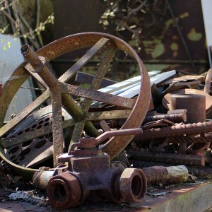 rusted scrap iron pieces
