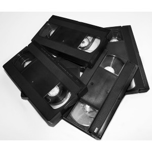 black VHS videotapes