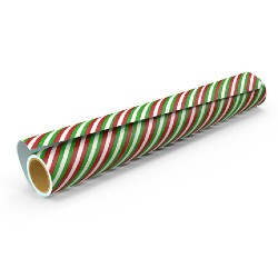red, green, and white stripped wrapping paper