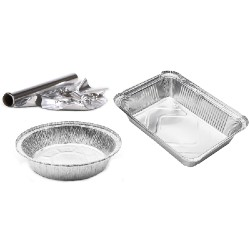 aluminum foil wrap on a roll, aluminum pie pan, and a large aluminum tray