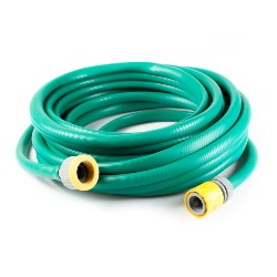 green garden hose coiled up