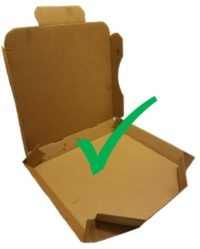 empty clean pizza box with a green check