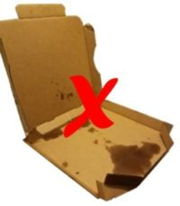 empty food contaminated greasy pizza box with a red x